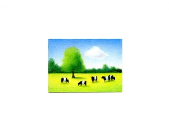 Aceo Five Belted Galloways Print of Original drawing by SBMathieu