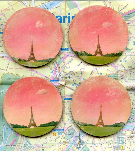 Distressed Eiffel Tower Coasters by SBMathieu