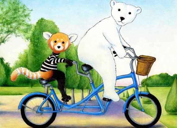 Walter the Red Panda and Jack the Polar Bear's Tandem Bike in the Park 8 x 10 inch Print by SBMathieu