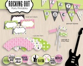 ROCK GUITAR Birthday Party Printable Package in Pink and Lime- Instant Download