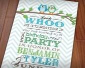 TWIN OWL Birthday Party Invitation in Seafoam Green & Teal