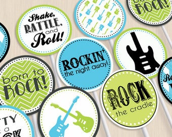ROCK GUITAR Baby Boy Party Circles & Cupcake Toppers in Turquoise Aqua Blue and Lime Green- Instant Printable Download
