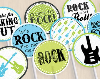 ROCK GUITAR Birthday Party Circles & Cupcake Toppers in Turquoise Aqua Blue and Lime Green- Instant Printable Download