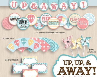 HOT AIR BALLOON Birthday Party Printable Package in Coral- Editable Instant Download