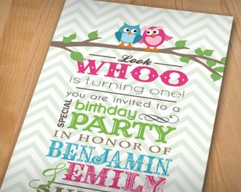 TWIN OWL Birthday Party Printable Invitation in Teal and Pink