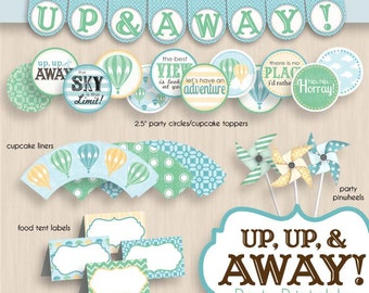 HOT AIR BALLOON Baby Shower Printable Package in Seafoam Green and Teal- Instant Download