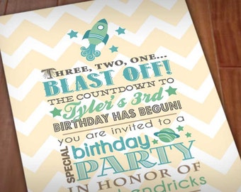 SPACE ROCKET Boy Birthday Printable Invitation in Seafoam and Teal