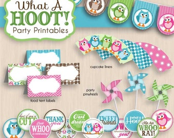 OWL Birthday Party Printable Package in Pink & Teal- Instant Download