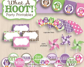 BABY OWL Shower Printable Package in Purple & Pink- Instant Download