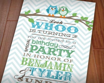 TWIN OWL Birthday Party Invitation in Seafoam Green & Teal