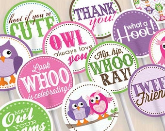 OWL Birthday Cupcake Toppers & Party Circles in Pink and Purple- Instant Printable Download