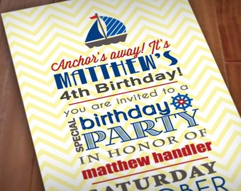 ANCHOR'S AWAY Birthday Printable Invitation in Red, Navy Blue, and Yellow