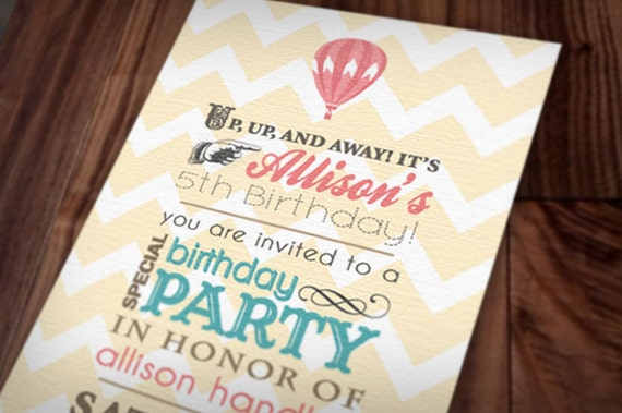 HOT AIR BALLOON Birthday Girl Printable Invitation in Coral and Teal