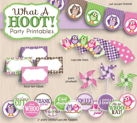 OWL Birthday Party Printable Package in Purple & Pink- Instant Download