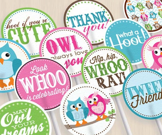 "OWL Birthday 2"" Cupcake Toppers and Party Circles in Pink and Teal- Instant Printable Download"