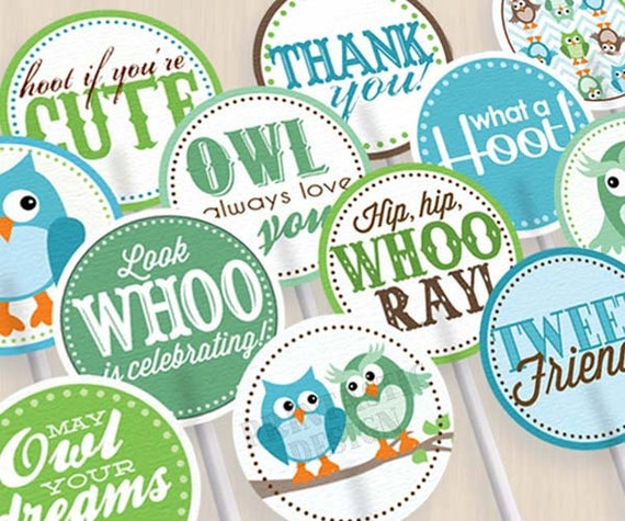 OWL Birthday Cupcake Toppers & Party Circles in Seafoam Green and Teal- Instant Printable Download