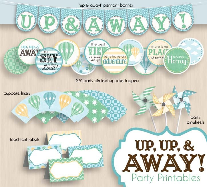 Baby Shower Balloons Free Delivery ~ Hot air balloon baby shower printable package in seafoam green