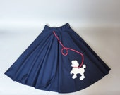 50s circle skirt xs - 1950s poodle skirt navy blue full school dance prom  (w350a01-1)