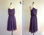 80s dress medium - purple violet floral slouchy flouncy cowl : Tiny Tulips (w18lv01-1)