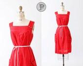 SALE 25% off // 60s dress xl / 1960s house dress red : Raggedy Ann