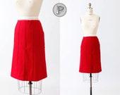 1960s skirt small medium / 60s red skirt wool : Heart Collector