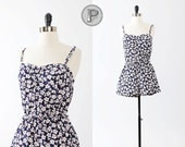 70s romper swimsuit medium large / navy blue white floral playsuit onesie sweetheart: the Paige maillot  (w47ga41-1)