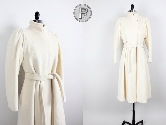 70s coat small medium / 1970s long cream wool coat : Just A Formality