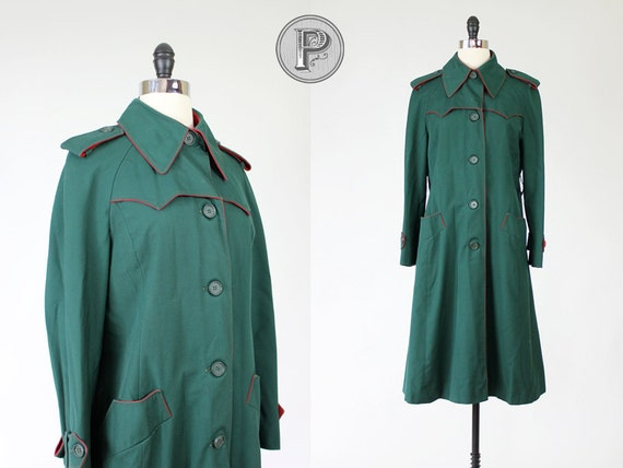 70s coat medium / 1970s green red jacket : On Holiday