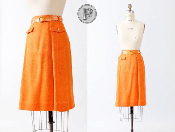 60s skirt medium - 1960s orange knit skirt belted : Popsicle