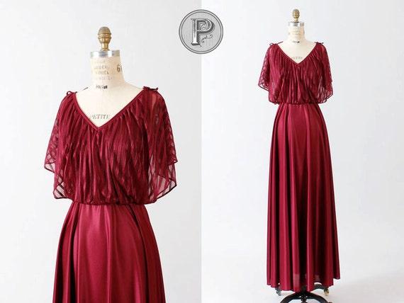70s dress small / 1970s maxi dress goddess wine red : Funny Valentine