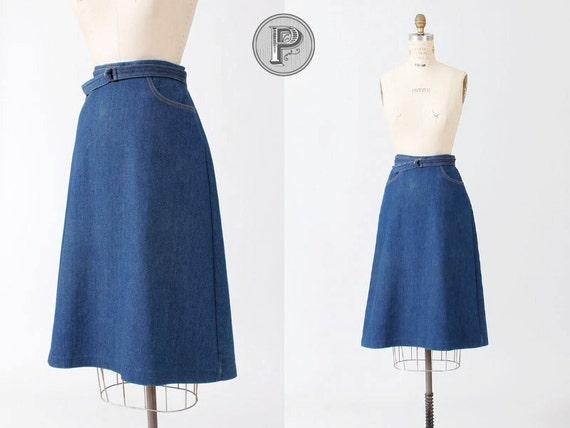 70s skirt small medium / 1970s blue jean american skirt : Montana
