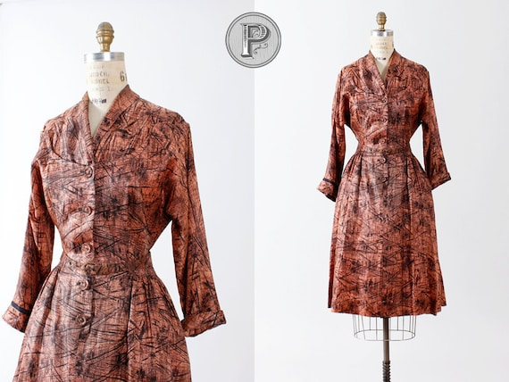 1940s dress medium large / 1950s pink abstract dress : Picasso