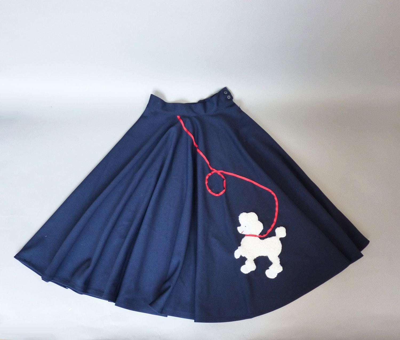50s Circle Skirt Xs 1950s Poodle Skirt Navy Blue Full School