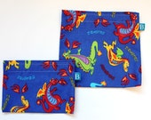 Reuseable Eco-Friendly Set of Snack and Sandwich Bags in Dragons Fabric