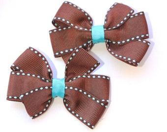Chocolate Brown and Aqua Pinwheel Bows