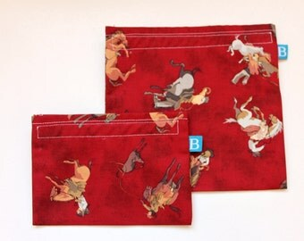 Reuseable Eco-Friendly Set of Snack and Sandwich Bags in Cowboys and Horses Fabric