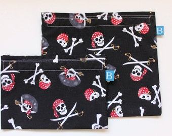 Reuseable Eco-Friendly Set of Snack and Sandwich Bags in Pirate Fabric