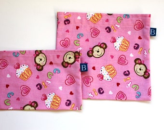 Reuseable Eco-Friendly Set of Snack and Sandwich Bags in Pink Cupcake Monkey Fabric