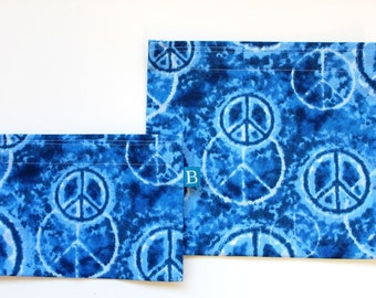 Reuseable Eco-Friendly Set of Snack and Sandwich Bags in Blue Tie-Dyed Peace Signs Fabric