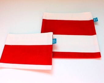 Reuseable Eco-Friendly Set of Snack and Sandwich Bags in Red and White Striped IKEA Fabric