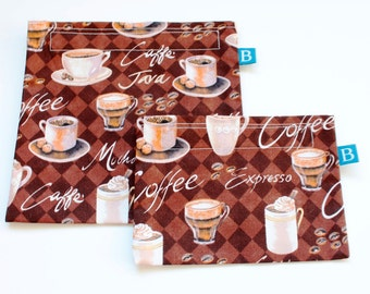 Reuseable Eco-Friendly Set of Snack and Sandwich Bags in Coffee Print Fabric