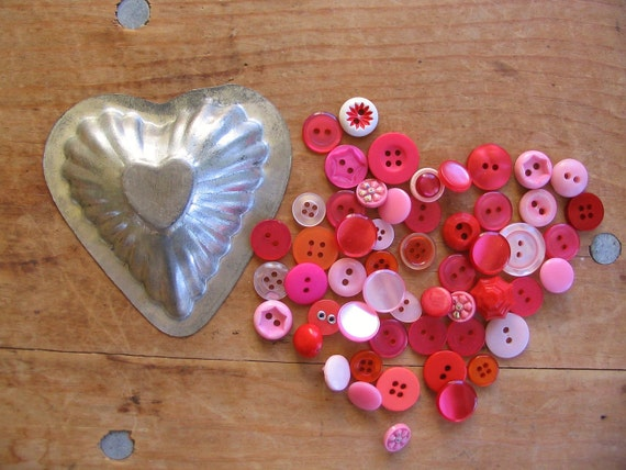 Instant Collection Red  & Pink Buttons in Vintage Heart Shaped Mold