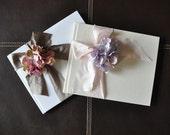 Custom Wedding Photo Album or Guest Book - Raw Silk Bow & Silk Flower - choose your colors, style
