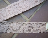 one  Antique french salesman's sample of  alencon lace in cafe au lait ,more avail.