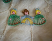 Hand Loomed vintage appliqués of 3 children holding hands