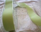 "reserved for Marianne 4 yds.,vintage  velvet ribbon in nile  from Switzerland 1 1/2"", more avail."