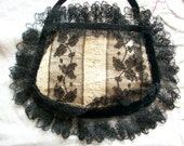 19th century purse black lace and silk