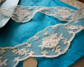 1 yd. of French antique cotton net lace