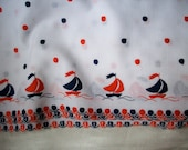 1 yd. of Vintage linen embroidered with sailboats, more