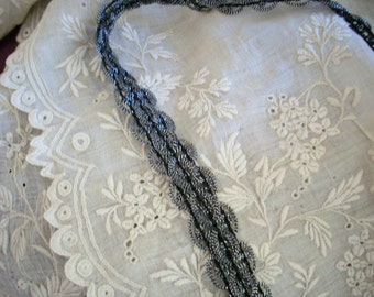 2 yds. of antique silver trim 1950s Japan, more avail.